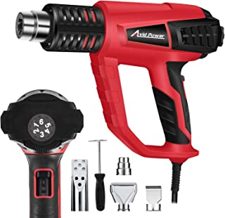 Heat Gun, Heavy Duty Hot Air Gun Variable Temperature 122°F-1112°F(50°C-600°C) with 5 Metal Nozzle Attachments for Crafts, Shrinking PVC, Stripping Paint, Avid Power