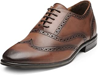 TEAKWOOD Men's Real Genuine Leather Wing Tip Oxford Brogues Shoes