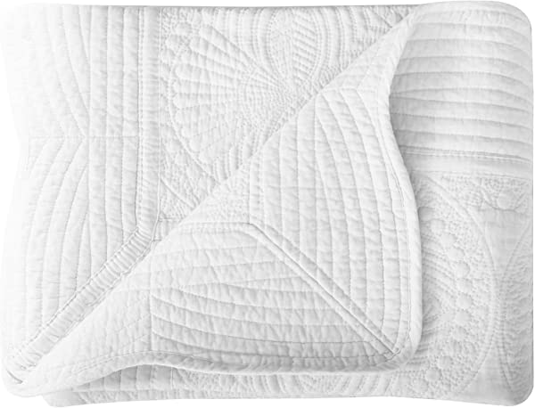 Lullaby Infant Blankets All Weather Lightweight Embossed Baby Quilt White