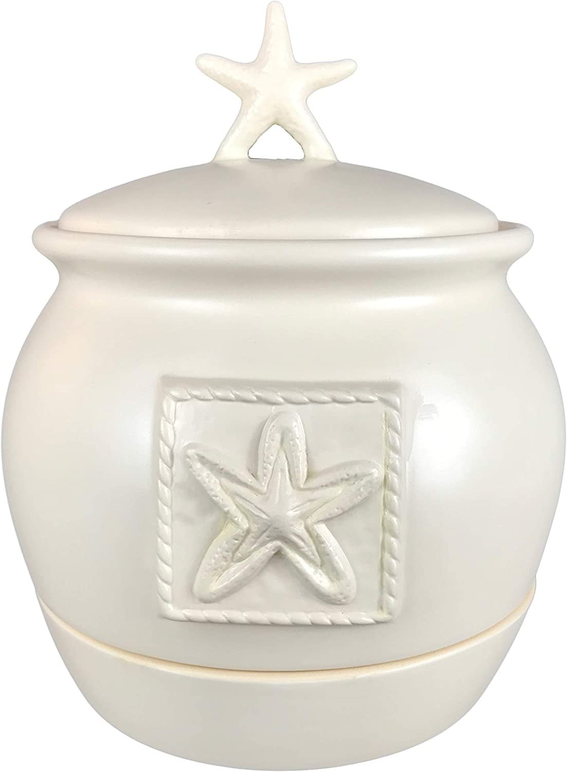 Starfish Embossed Ceramic Decorative Canister with Lid   Ivory Memory Jar for Birthday Party, Wedding or End of Life Celebration   Pretty Storage Container or Keepsake Holder   Gratitude Wishes