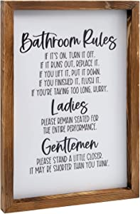 Rustic Wood Bathroom Rules Sign & Plaque- Framed Wood Sign for Bathroom Wall Decor, Farmhouse Bathroom Sign with Funny Quotes, Cute Guest Bathroom Decor Sign Wall Art, 11x16 Inch