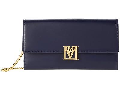MCM Mena Flap Wallet/Trifold Large (Maritime Blue) Handbags