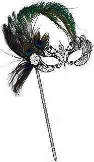 Success Creations Corrine Laser-Cut Black Venetian Women's Masquerade Mask on a Stick w/Peacock
