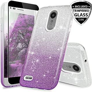 TJS Case for LG Aristo 2/Aristo 2 Plus/Aristo 3/Aristo 3 Plus/Tribute Dynasty/Tribute Empire/Fortune 2/Rebel 3 LTE [Full Coverage Tempered Glass Screen Protector] Glitter Paper Phone Cover (Purple)