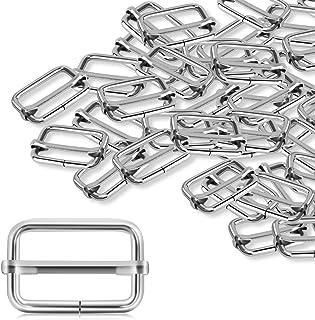 StarVast 50 Pcs 1 inch Slide Buckles Metal Tri-Glide Slides Adjustable Webbing Strap Adjuster Silver Rectangle Tri Slide Buckle for Fasteners Strap Backpack DIY Accessories