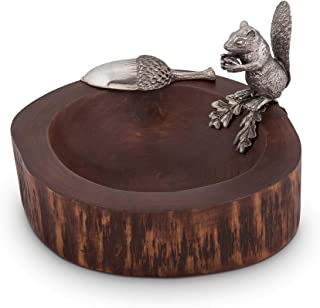 Vagabond House Wood Nut/Candy Bowl with Standing Pewter Squirrel and Metal Pewter Scoop; 8.5