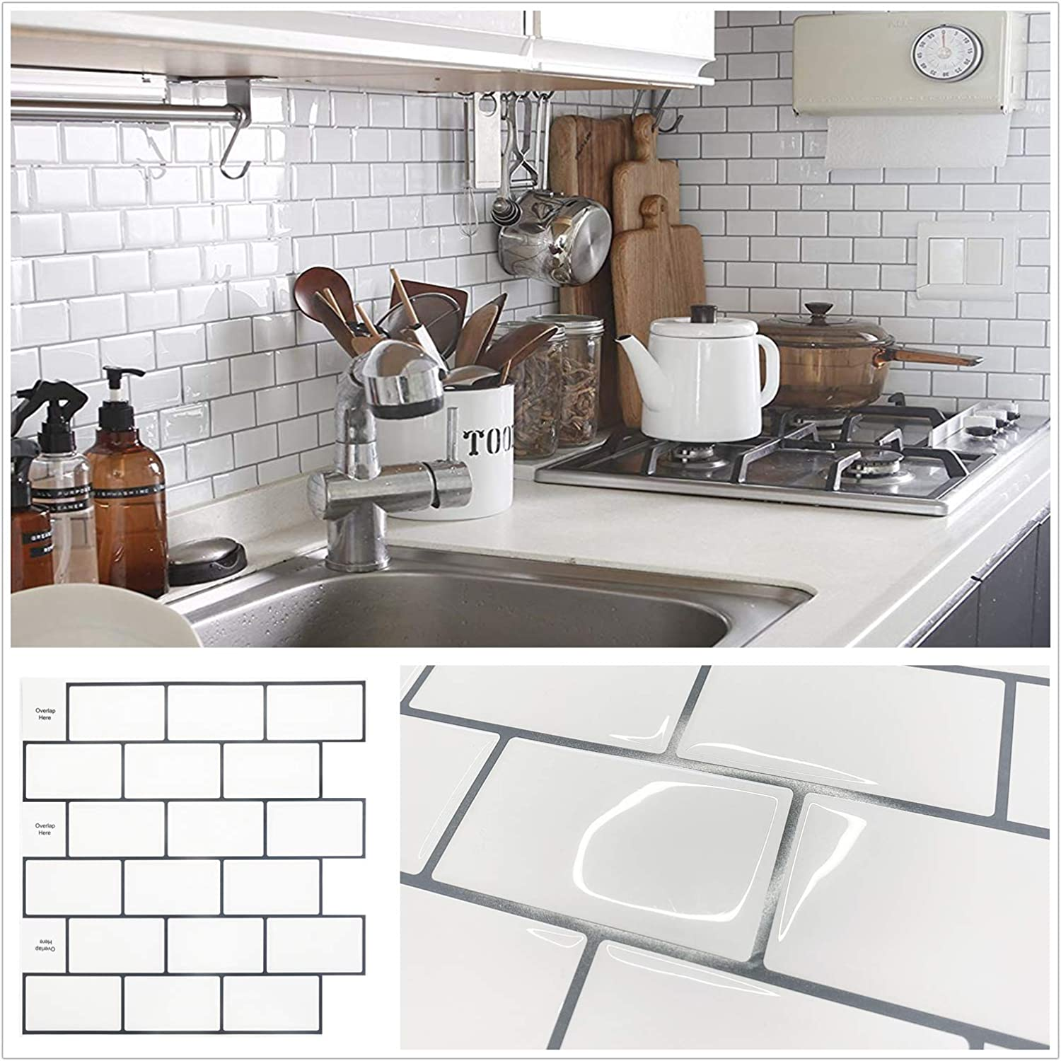 Amazon Com Homeymosaic 10 Sheet Subway Peel And Stick Backsplash Tile For Kitchen 12 X12 3d Wall Vinyl Stickers With Grey Grout White Kitchen Dining