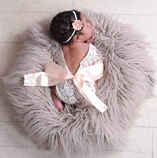 Newborn Lace Romper Baby Girl Outfit Photography Prop Vintage Newborn Romper with Ribbon Bow and Matching Headband