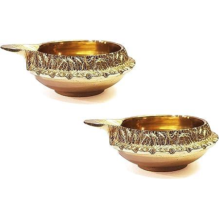 Sarvam Pooja Diya Lot de 2 lampes /à huile faites /à la main Pooja Articles de d/écoration dint/érieur Diwali Cadeau de Diwali lot de 2