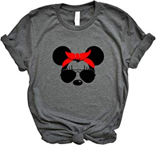 Unisex Minnie Mouse with Lashes, Aviators, and Red Bandana Tshirt Plus Size Available
