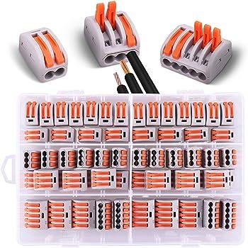 60 Pezzi Connettori Elettrici con Leva di Funzionamento, 20 Morsetti a 2 vie, 30 Morsetti a 3 vie, 10 Morsetti a 5 vie