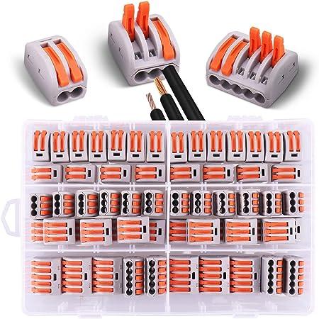 60 pièces Connecteurs électriques avec levier de commande,20pcs 2 entrées, 30pcs 3 entrées,10pcs 5 entrées