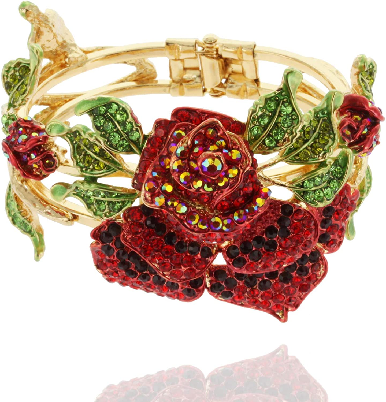 SP Sophia Collection Women's Gold Snap-on Metal Large Rose Bracelet Bangle