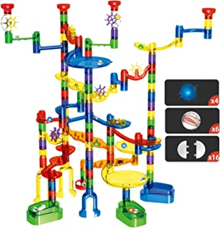 Marble Run Set, Glonova 149 Pcs Marble Super Set for Kids 4+, (107 Translucent Marbulous Pieces+ 4 Light up Marbles+ 6 Glass Marbles+32 Pcs DIY Marbles)