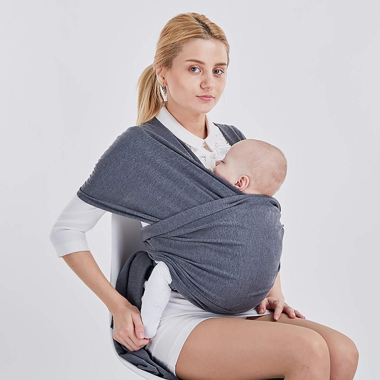 郵便番号ホールド真剣にWKD Onlineによるスリングラップベビーキャリア - 幼児年齢への新生児用 - 胸部に対して乳児を保持するための柔らかい伸縮性のある編まれたコットン - プラスサイズの女性と大きい男性向けグレー