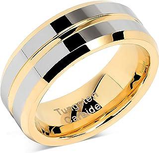 100S مجوهرات التنجستن خواتم للرجال الزفاف الذهب والفضة اثنين من لهجة مركز خط الحجم 6-16