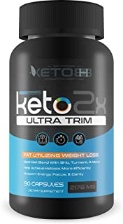 Keto 2X Ultra Trim - Fat Utilizing Weight Loss - Help Release Fat Stores with Turmeric & Herbs - Support Accelerated Ketos...