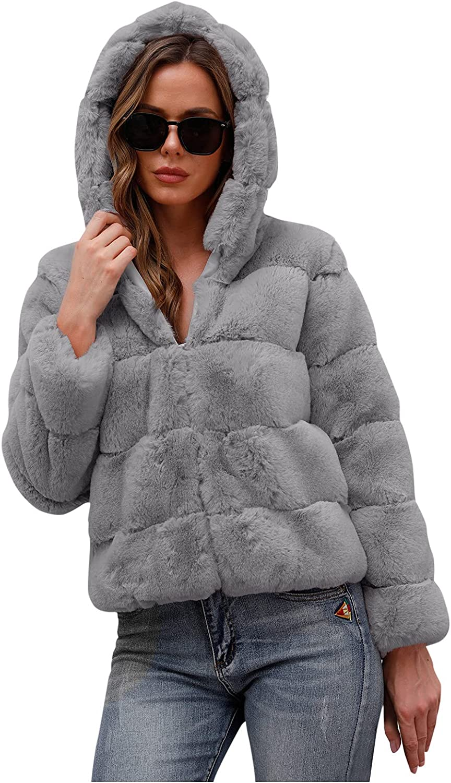 haoricu Fuzzy Fleece Cardigans for Women Dressy Fluffy Warm Fuzzy Fleece Cropped Coat Shawl Collar Zipper Jacket