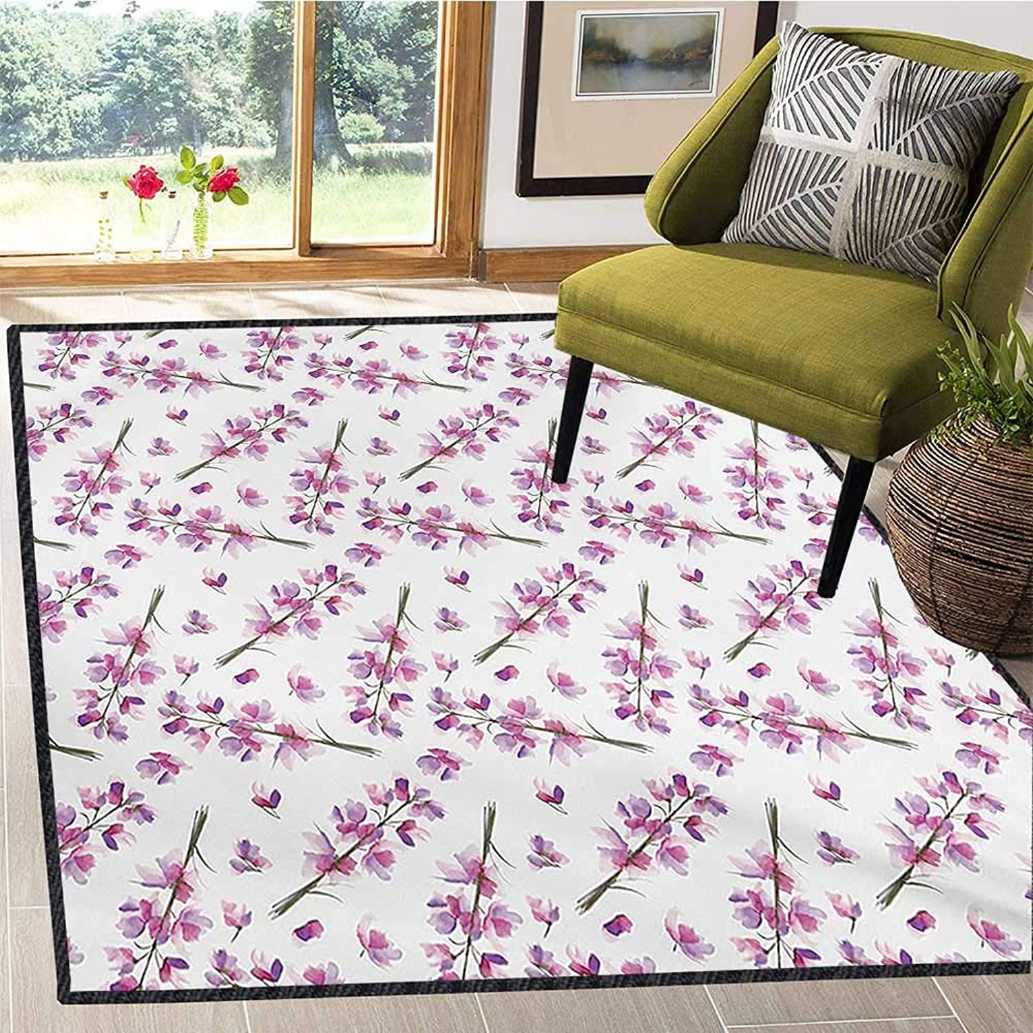 Purple, Door Mats for Inside, Hazy Delphinium Floret Branches with Blooming Roots Seasonal Twigs Nature Pattern, Floor Mat Pattern 5x6 Ft purple Green