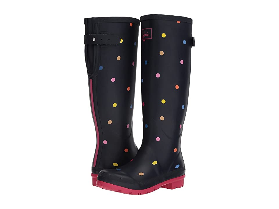 Joules Tall Welly Print (Navy Pop Spot Rubber) Women