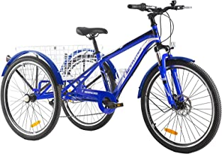 DoCred Adult Mountain Tricycle, 7 Speed Three Wheel Bikes, 24/26 Inch Adults Trikes Men's Women's...