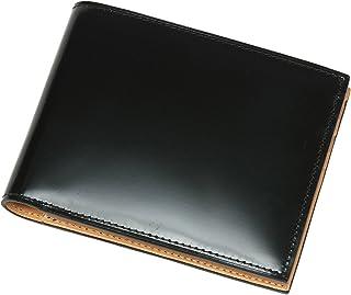 コードバン 馬革 純札 二つ折財布 革財布 メンズ[名入れ刻印] Glucklicher Kerl(ギリュックリヒャ ケアル) (ブラック)