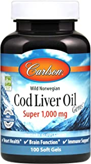 Carlson - Cod Liver Oil, Super 1000 mg, Wild Norwegian, Sustainably Sourced, 100 soft gels