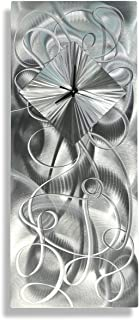 Statements2000 Modern Contemporary All Natural Silver Hand-Crafted Clock Sculpture - Abstract Metal Home Office Decor Wall Accent Art - Light Source by Jon Allen - 24-inch