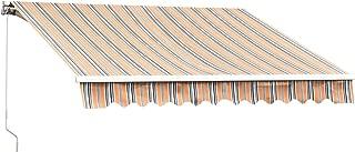MCombo 10x8 Feet Manual Retractable Patio Door Window Awning Sunshade Shelter Outdoor Canopy (Multicolor)