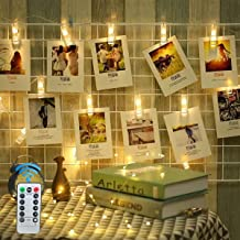 HOTINS LED Photo Clip String Lights - Upgraded Remote Control 8 Modes 20LED 10FT Battery Operated Warm White Fairy Lights with Clips for Hanging Photos Pictures