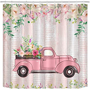 Valentine/'s Day Pink Retro Truck Roses Flowers Shower Curtain Set Bathroom Decor