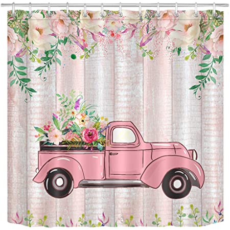 lb pink old truck shower curtain for bathroom spring blooming rose rustic wood happy valetine s day for lover watercolor wild flower bathroom decor 70