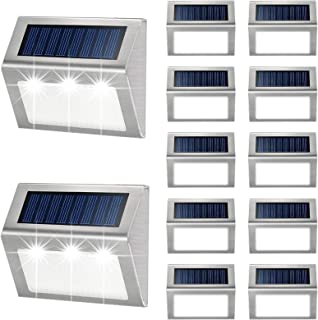 Outdoor Fence Lights,12 Pack Solar PoweredDeck Lights Waterproof Stairs Light Stainless..