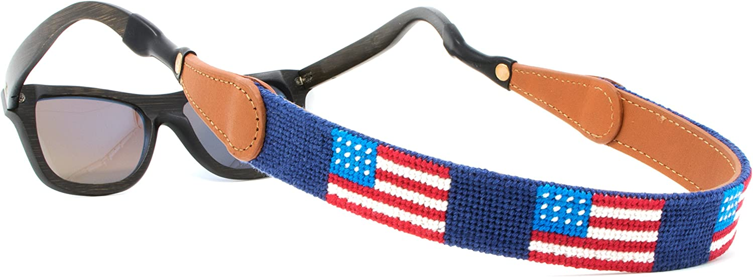Leather Hand-Stitched Needlepoint Sunglass Strap Retainer by Huck Venture