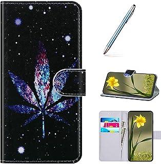 Flip Wallet Telefoonhoes Compatibel met OnePlus 7 Pro Cartoon Lederen Bookstyle Case Marihuana-URFEDA PU Lederen Bookstyle...