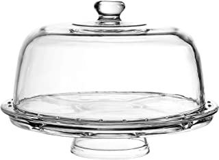 European Cake Stand with Dome (6-in-1 Design) Multifunctional Serving Platter for Kitchens, Dining Rooms, Pedes Glass Durabilitytal or Cover Use, Elegant