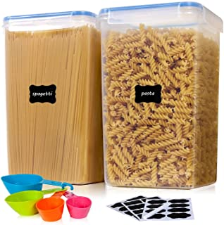 Vtopmart Airtight Food Storage Containers 2 Pieces 5.9qt / 6.5L-Plastic PBA Free Kitchen Pantry Storage Containers for Spaghetti, Flour and Baking Supplies - Dishwasher Safe - Include 24 Labels