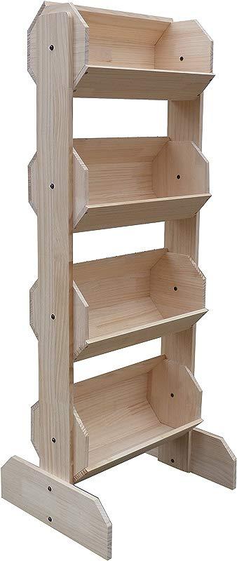 FixtureDisplays 21 0 X 53 0 X 17 0 Tiered Wooden Display Floorstanding 4 Bins Natural Pine 19407