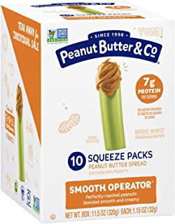 Peanut Butter & Co. Smooth Operator Peanut Butter Squeeze Packs, Non-GMO Project Verified, Gluten Free, Vegan, 1.15 oz (Pack of 20)