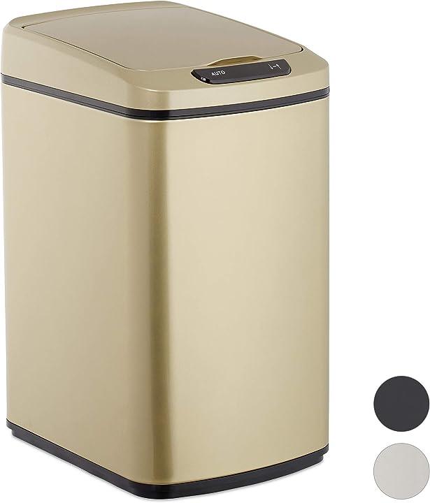 Cestino dei rifiuti con sensore, automatico 12 l, cesto rettangolare con coperchio & secchio interno, dorato 10026543_902
