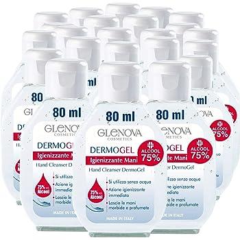 24 Flaconi Gel per Mani GLENOVA 80ml Alcool 75% Igienizzante Antibatterico Profumato Tascabile Sanificante Alcolico Efficace Contro Germi Batteri