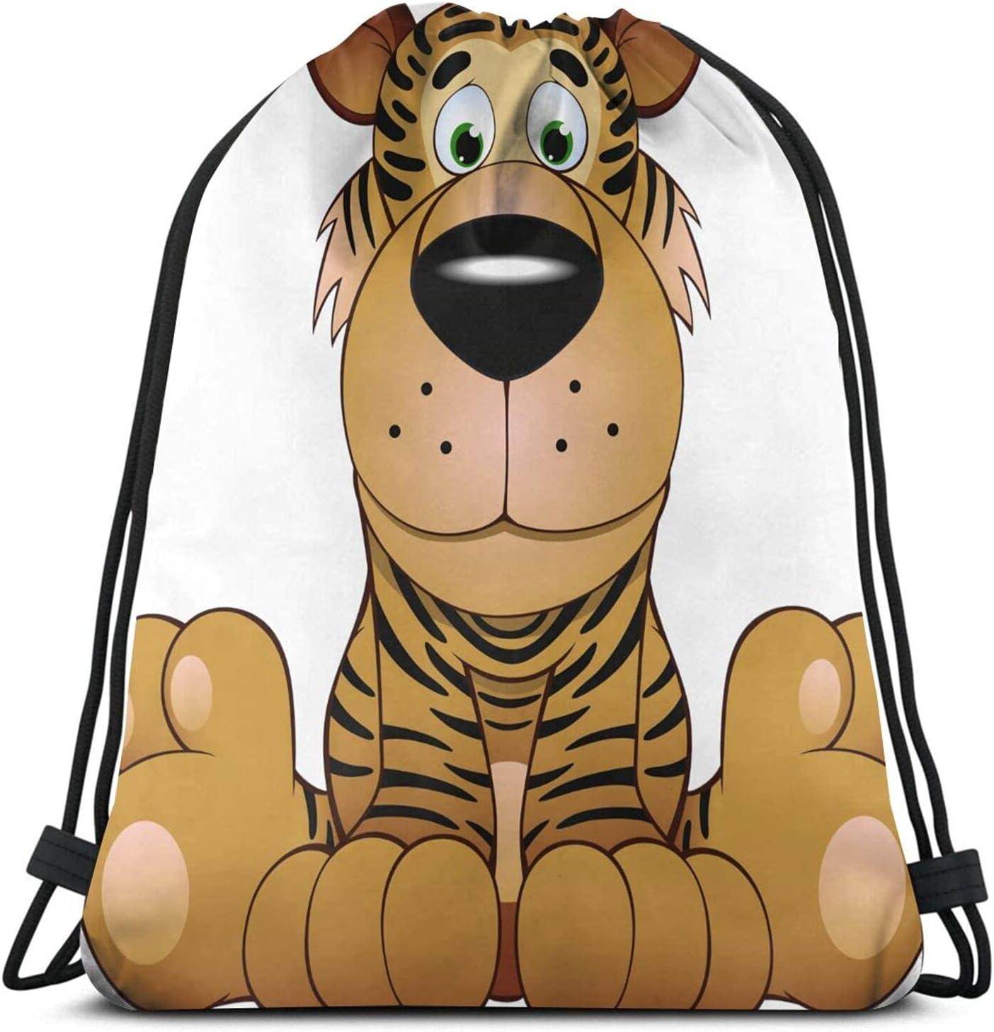 Aggrieved Cartoon Tiger Drawstring Backpack Popular brand Sports Charlotte Mall Bag Yoga Gym