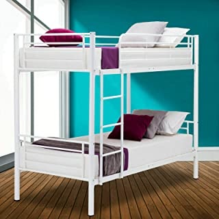 Mecor Metal Bunk Bed Twin Over Twin - with Removable Ladder and Guard Rail- Space Saving Design - Easy Assembly - White