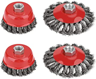 4 Pcs Cup Brush Set, M14 Thread Strong and Efficient, Durable and Wear-Resistant, Wire Brush for Angle Grinder, Twist Knot...