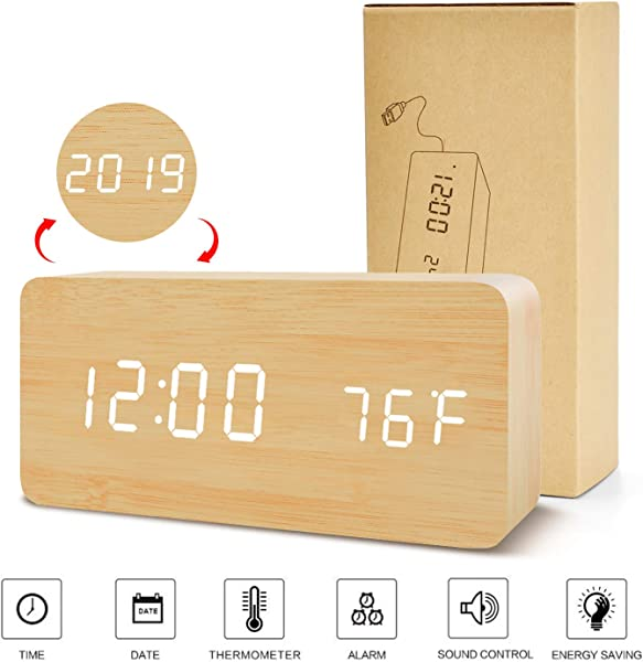 BlaCOG Digital Alarm Clock Adjustable Brightness Voice Control Desk Wooden Alarm Clock Large Display Time Temperature Date USB Battery Powered For Home Bedroom Office Kids Bamboo White