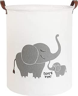CLOCOR Collapsible Round Storage Bin/Large Storage Basket/Clothes Laundry Hamper/Toy Storage Bin (Love Elephant)