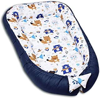 PALULLI Cuna de 120 x 60 cm, XXL Babykokon, 2 caras, 100% algodón, almohada, nido para cuna, cuna de bebé, cuna de viaje, para bebés y lactantes (BEARS)