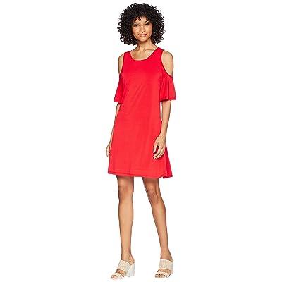 kensie Slinky Knit Cold Shoulder Dress KS5K8197 (Red Pepper) Women