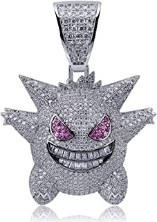 "Hip Hop Jewelry Iced Out Gengar Pendant Necklace for Men and Women, Gold Silver Purple 3 Colors, With 24"" Stainless Steel ..."