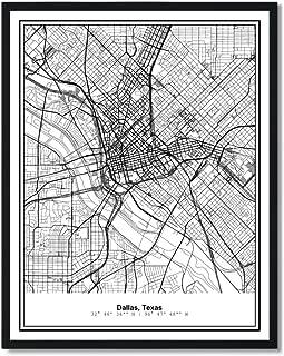 Susie Arts 11X14 Unframed Dallas Texas Metropolitan City View Abstract Street Map Art Print Poster Wall Decor V225